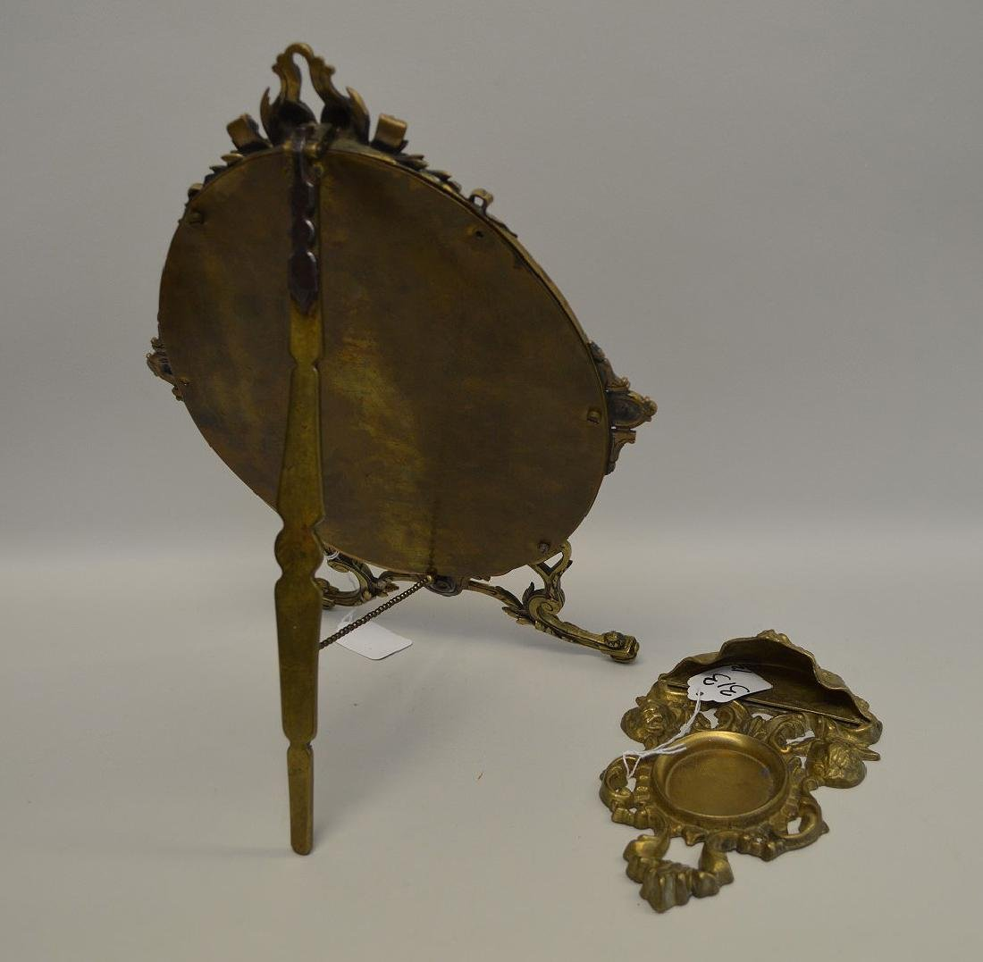 """TWO BRONZE FRAMES - Standing frame 14"""" H, holds oval 8 - 5"""