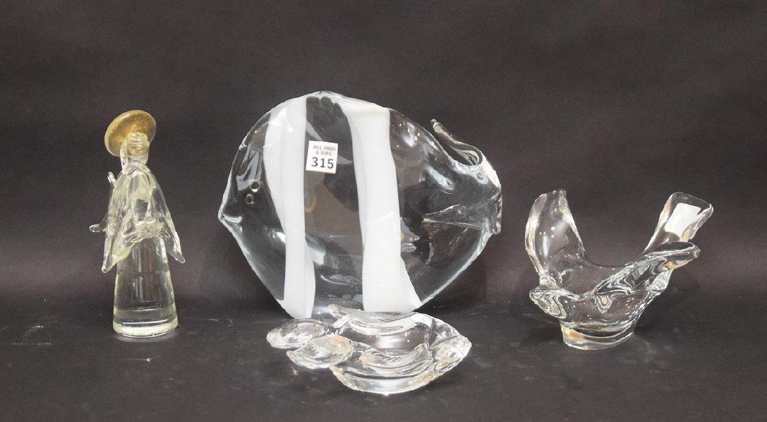 4 glass pieces, Murano fish, bird candy dish, Murano