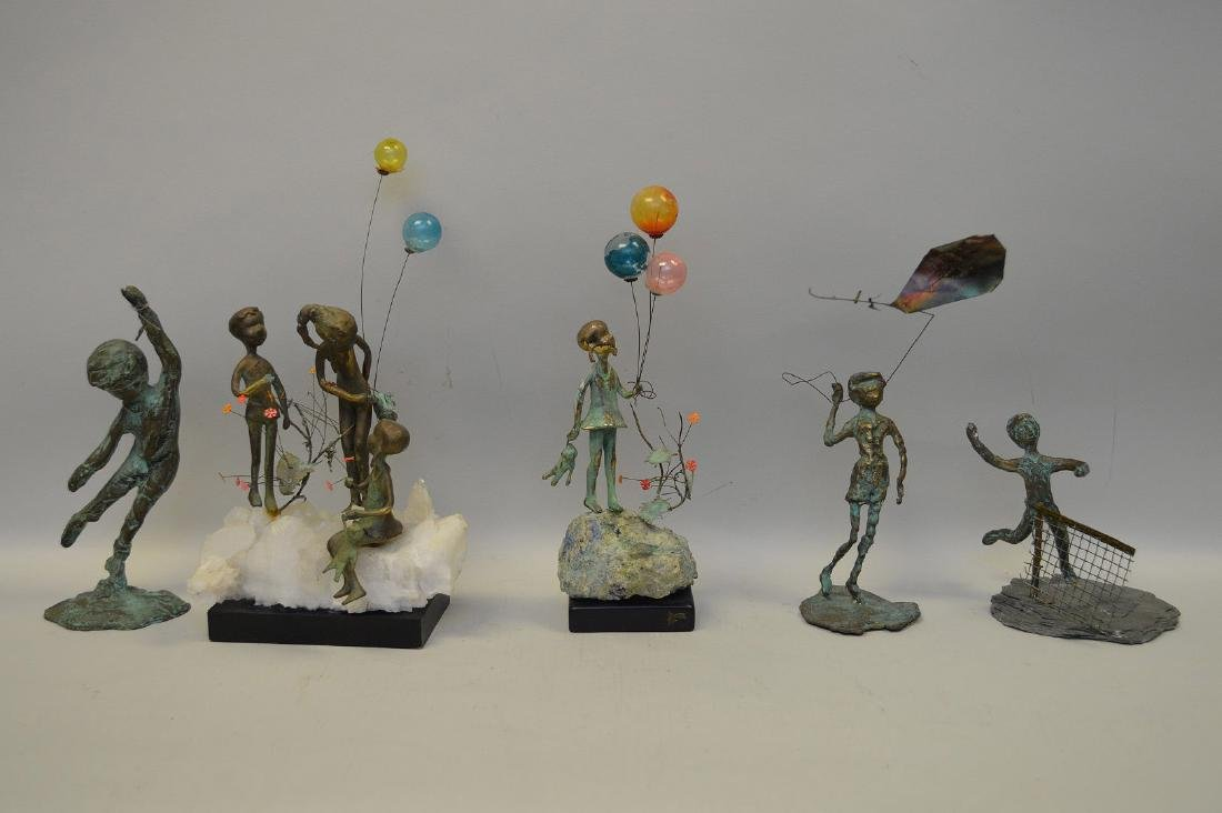 5 Verdigris metal sculptures of children