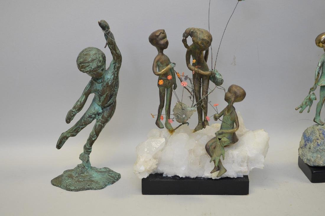 5 Verdigris metal sculptures of children - 2