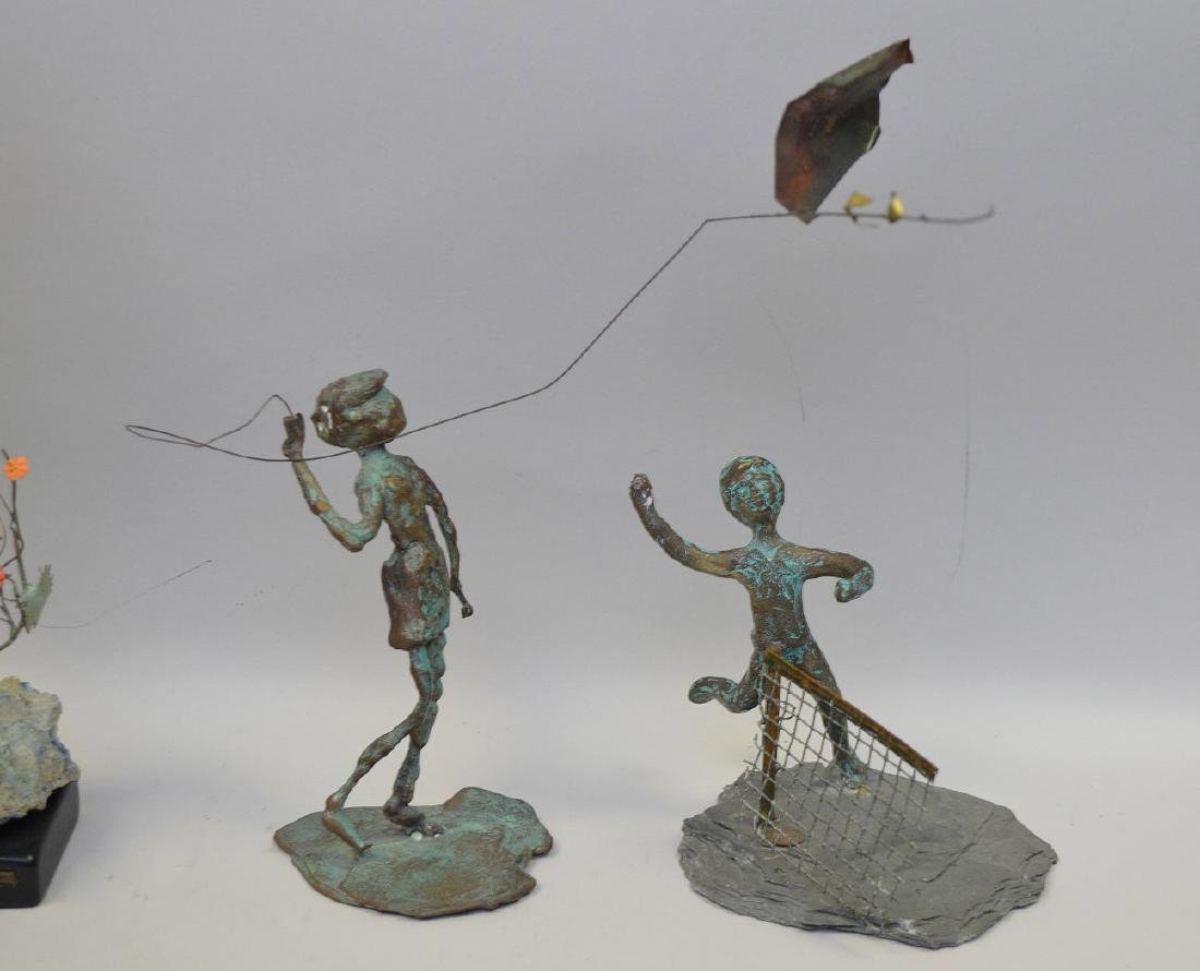 5 Verdigris metal sculptures of children - 3