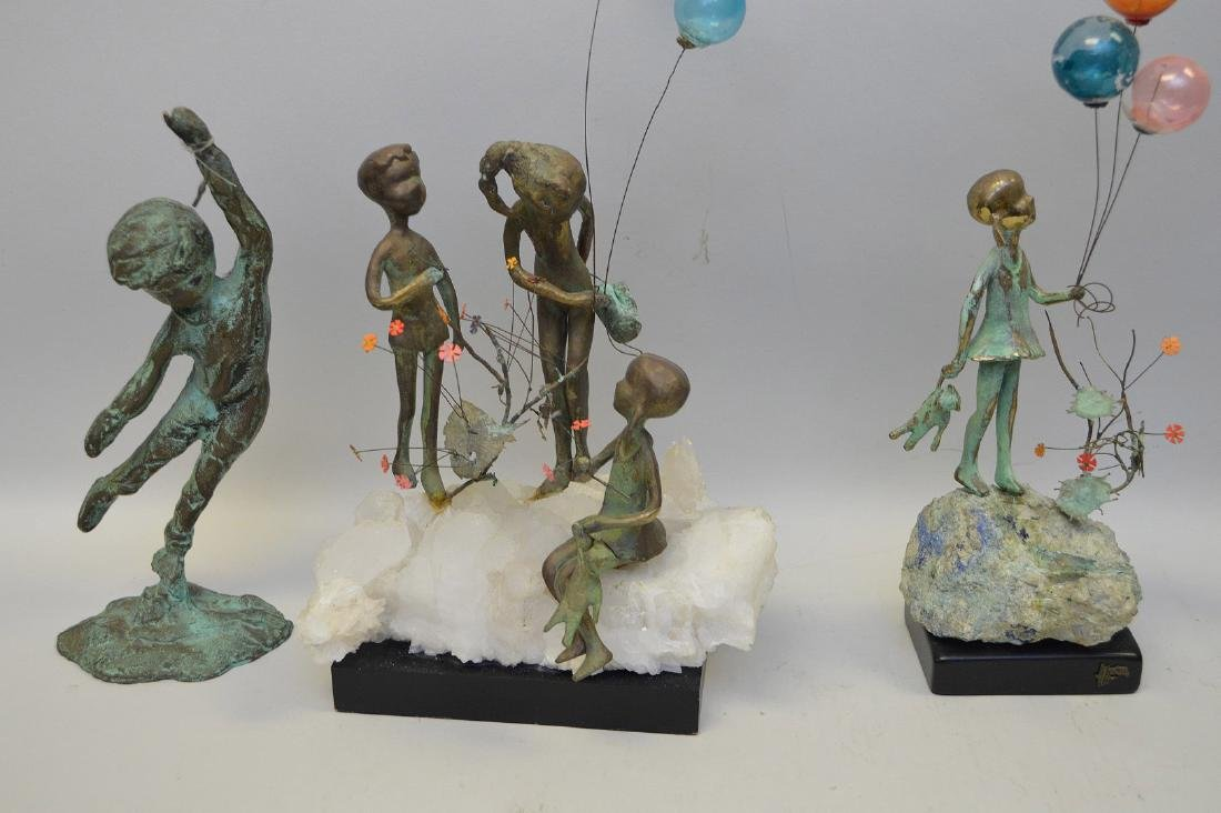 5 Verdigris metal sculptures of children - 4