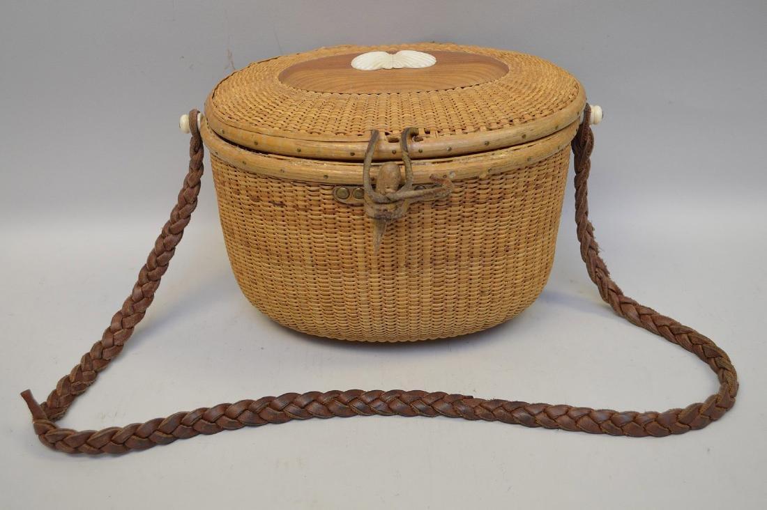 Vintage Nantucket handbag, initialed on bottom (strap