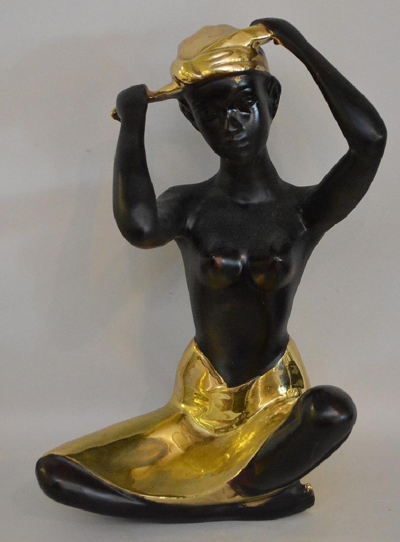 "Nubian Bronze seated female, 15""h"