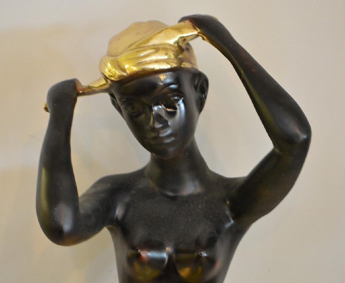 "Nubian Bronze seated female, 15""h - 2"