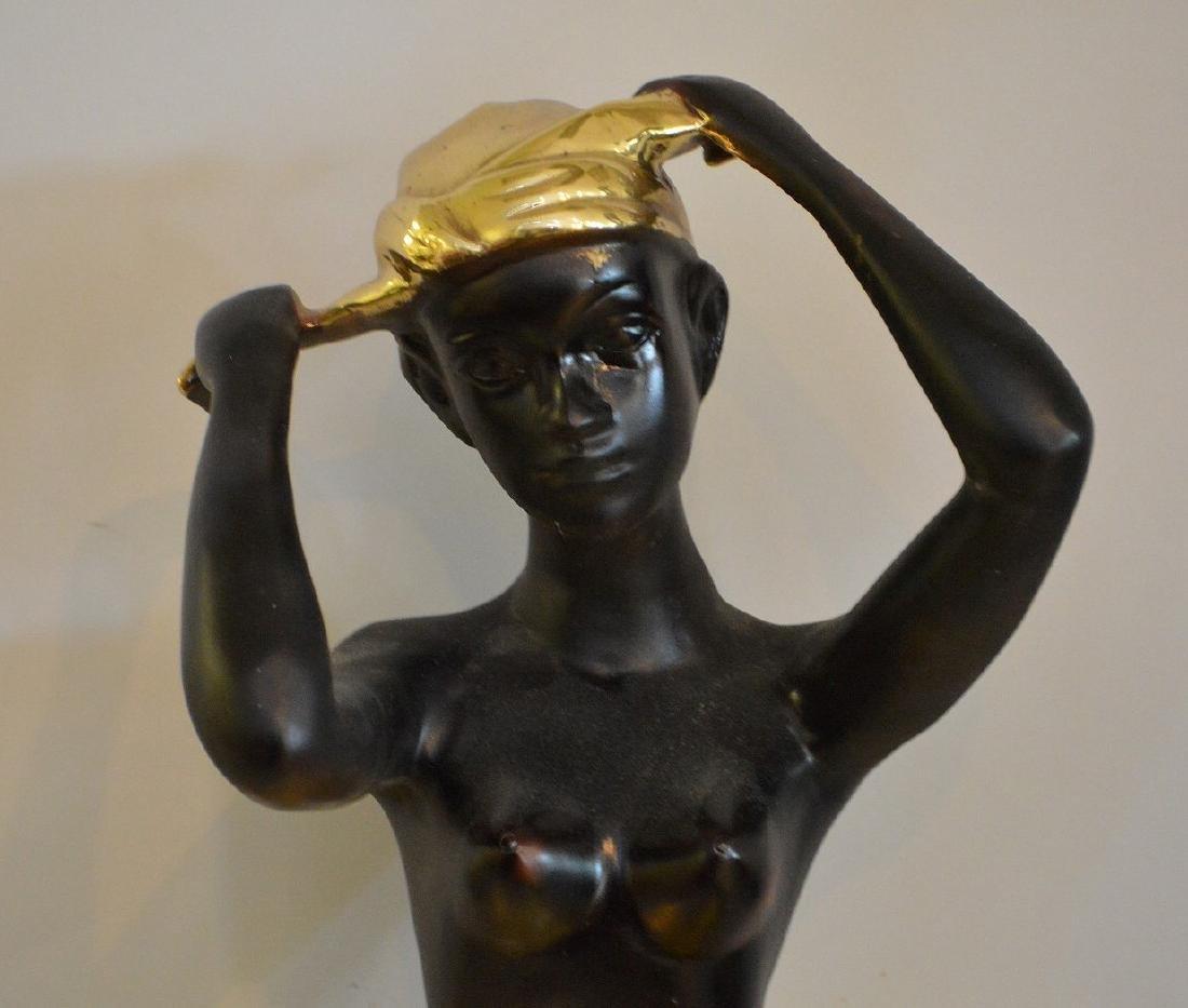 "Nubian Bronze seated female, 15""h - 3"