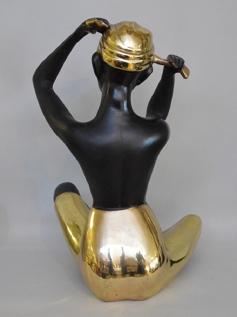 "Nubian Bronze seated female, 15""h - 4"