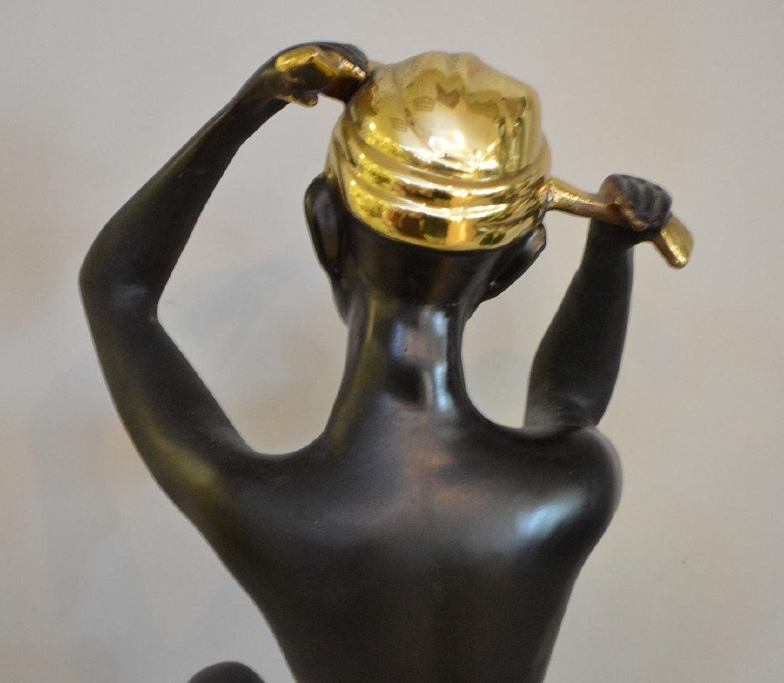 "Nubian Bronze seated female, 15""h - 5"