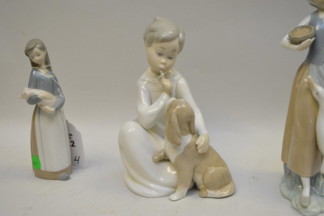 Lot of FOUR Lladro Spain Porcelain Sculptures: (1) - 3