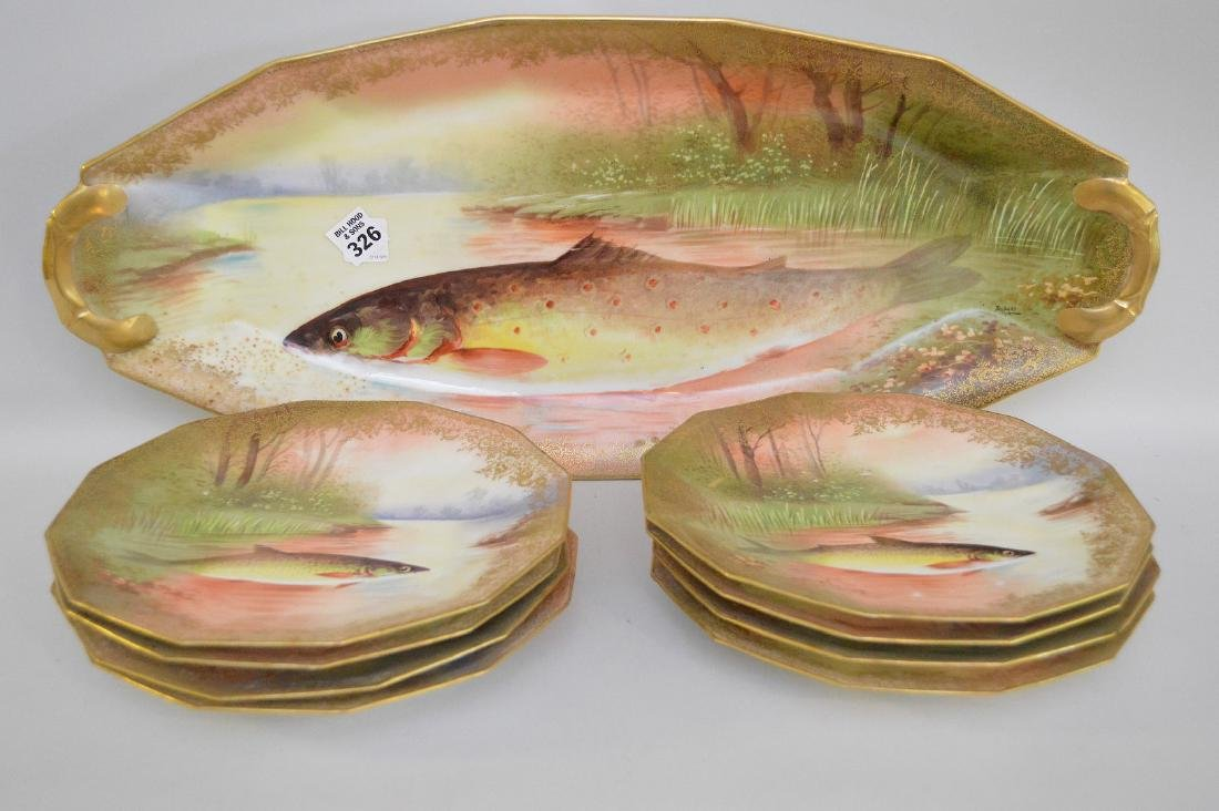 "Fish Set, hand painted French, 9 pcs, platter (24""L)"