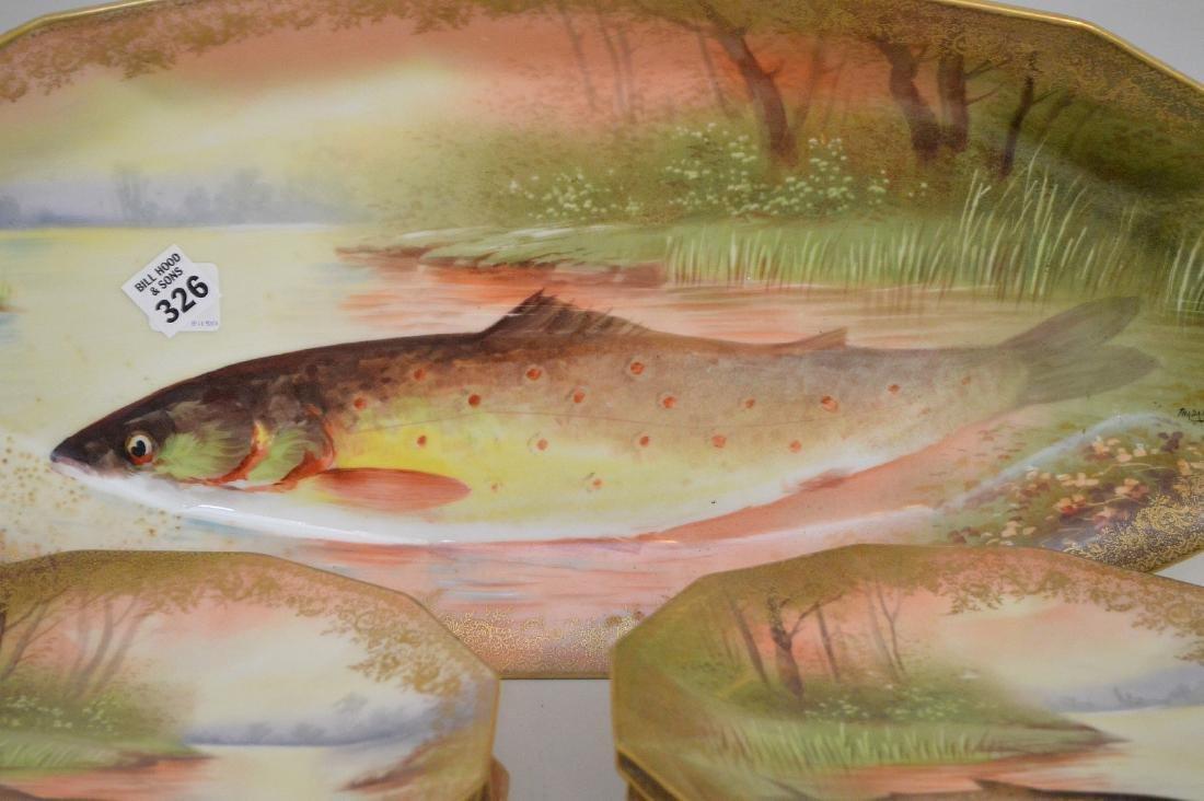 "Fish Set, hand painted French, 9 pcs, platter (24""L) - 2"