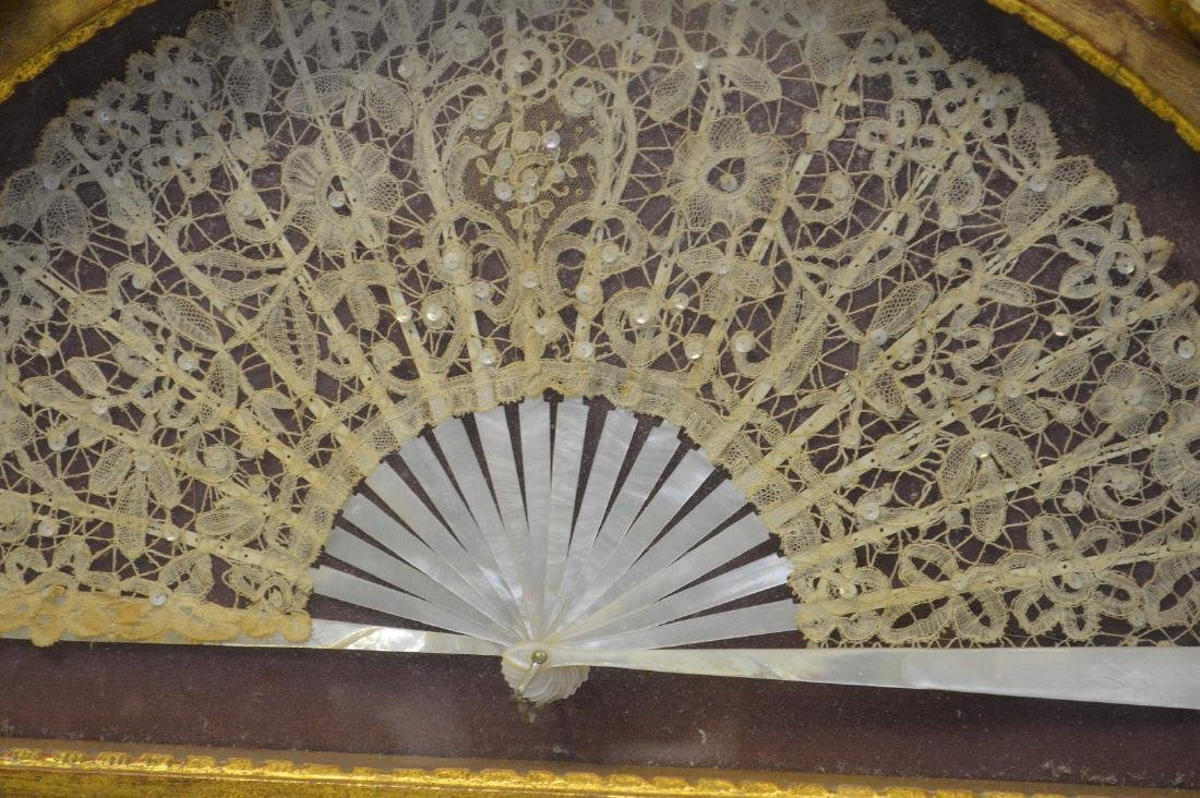 Giltwood shadow boxed frame with mounted lace and - 2