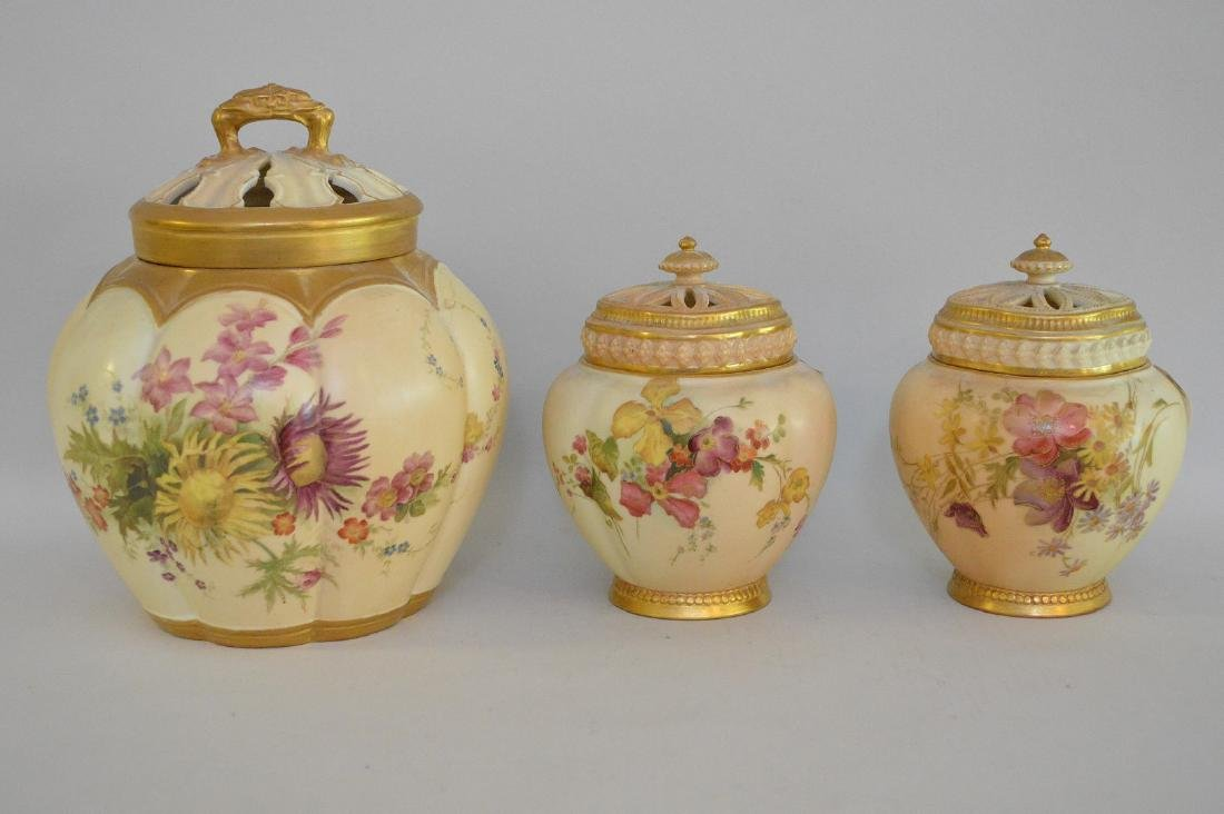 3 pieces of Royal Worcester pot potpourri jars, all