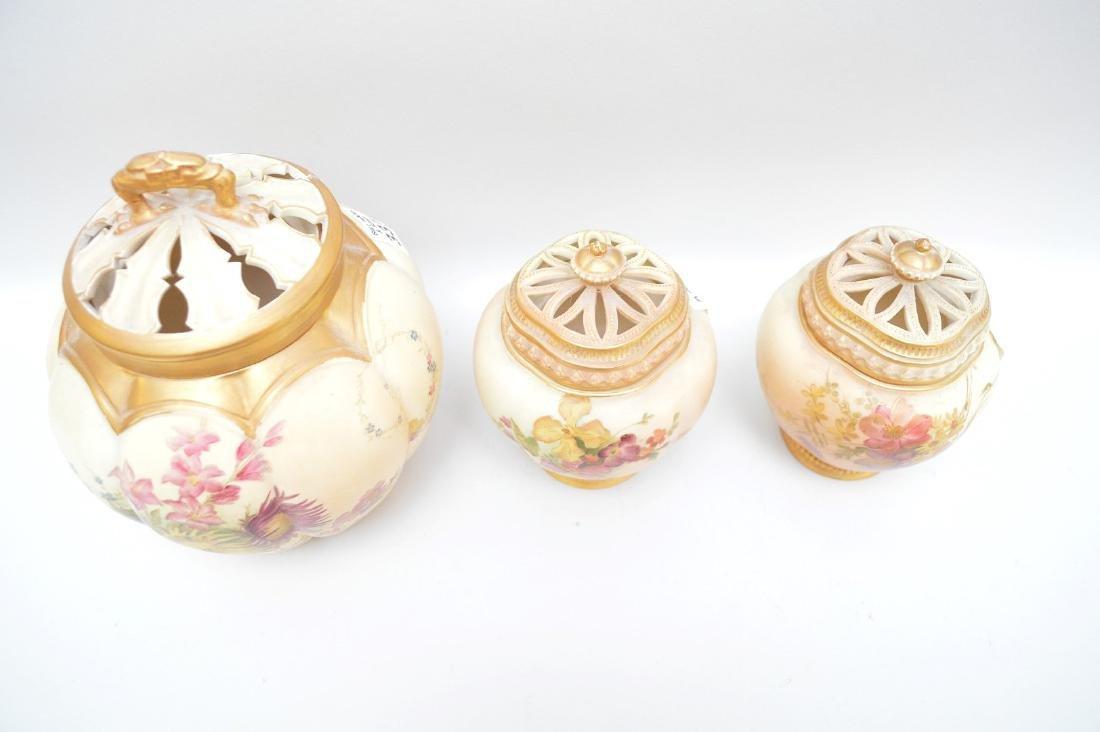 3 pieces of Royal Worcester pot potpourri jars, all - 4
