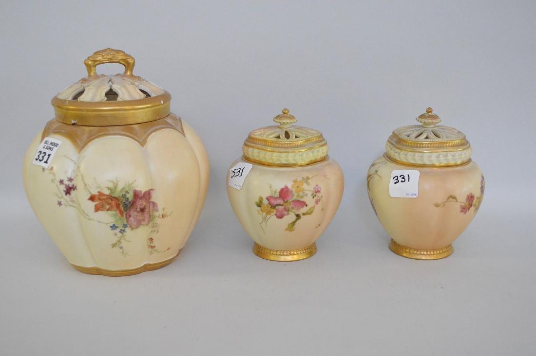 3 pieces of Royal Worcester pot potpourri jars, all - 5