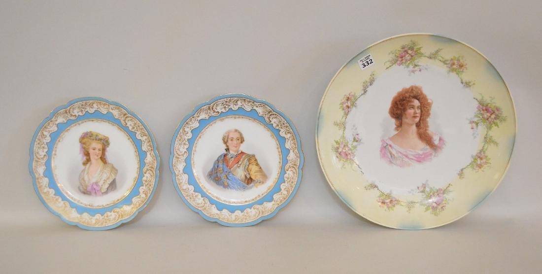 3 portrait plates; pair of French Royal chateau des