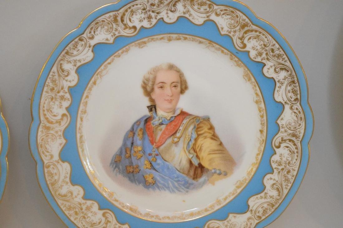 3 portrait plates; pair of French Royal chateau des - 2