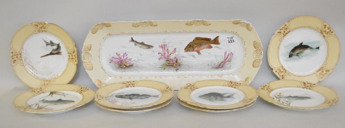 """Limoges fish set; platter (21""""), 8 plates assorted"""