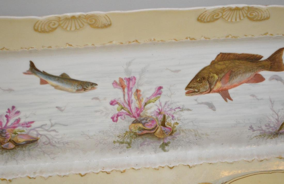 "Limoges fish set; platter (21""), 8 plates assorted - 3"