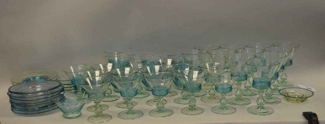 Turquoise, hand blown, threaded glass set; 13 sherbets