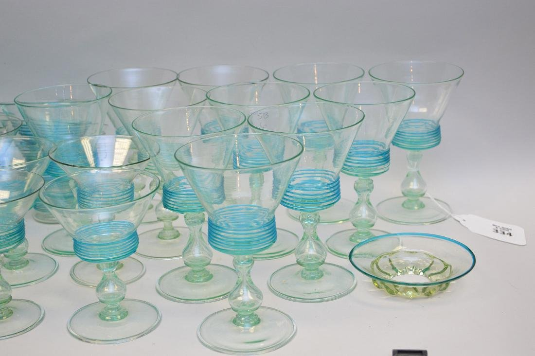 Turquoise, hand blown, threaded glass set; 13 sherbets - 2