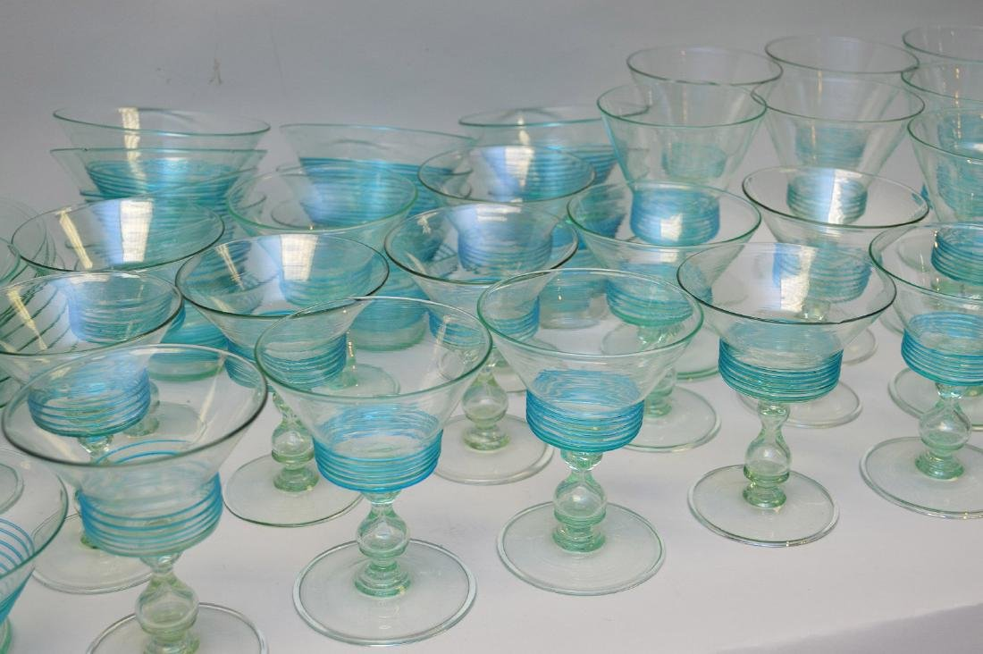Turquoise, hand blown, threaded glass set; 13 sherbets - 3