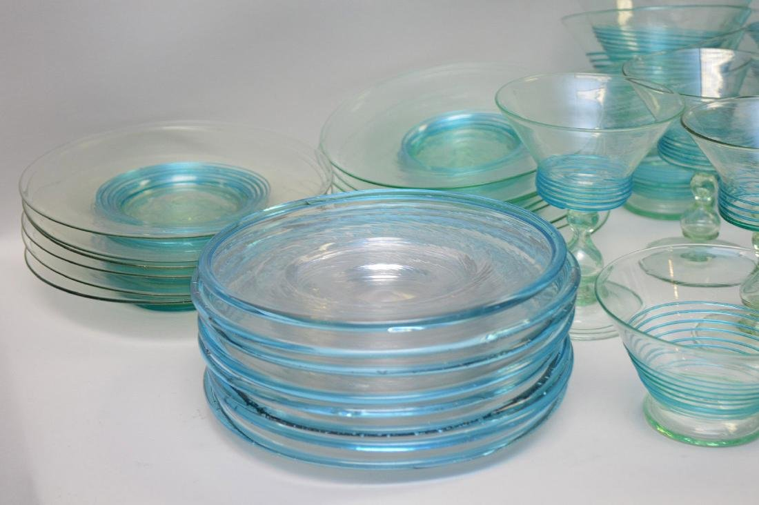 Turquoise, hand blown, threaded glass set; 13 sherbets - 4