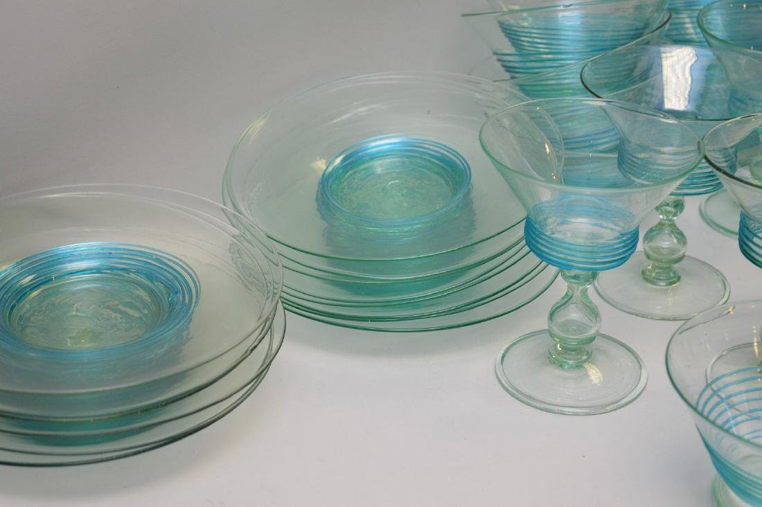 Turquoise, hand blown, threaded glass set; 13 sherbets - 5