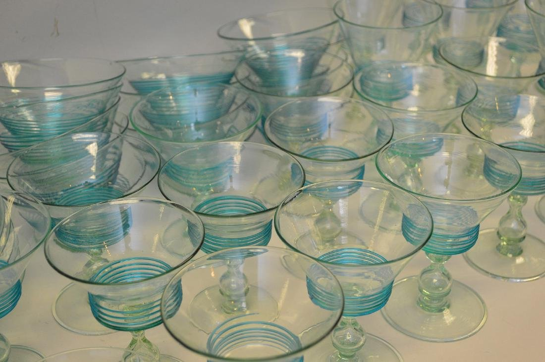 Turquoise, hand blown, threaded glass set; 13 sherbets - 6