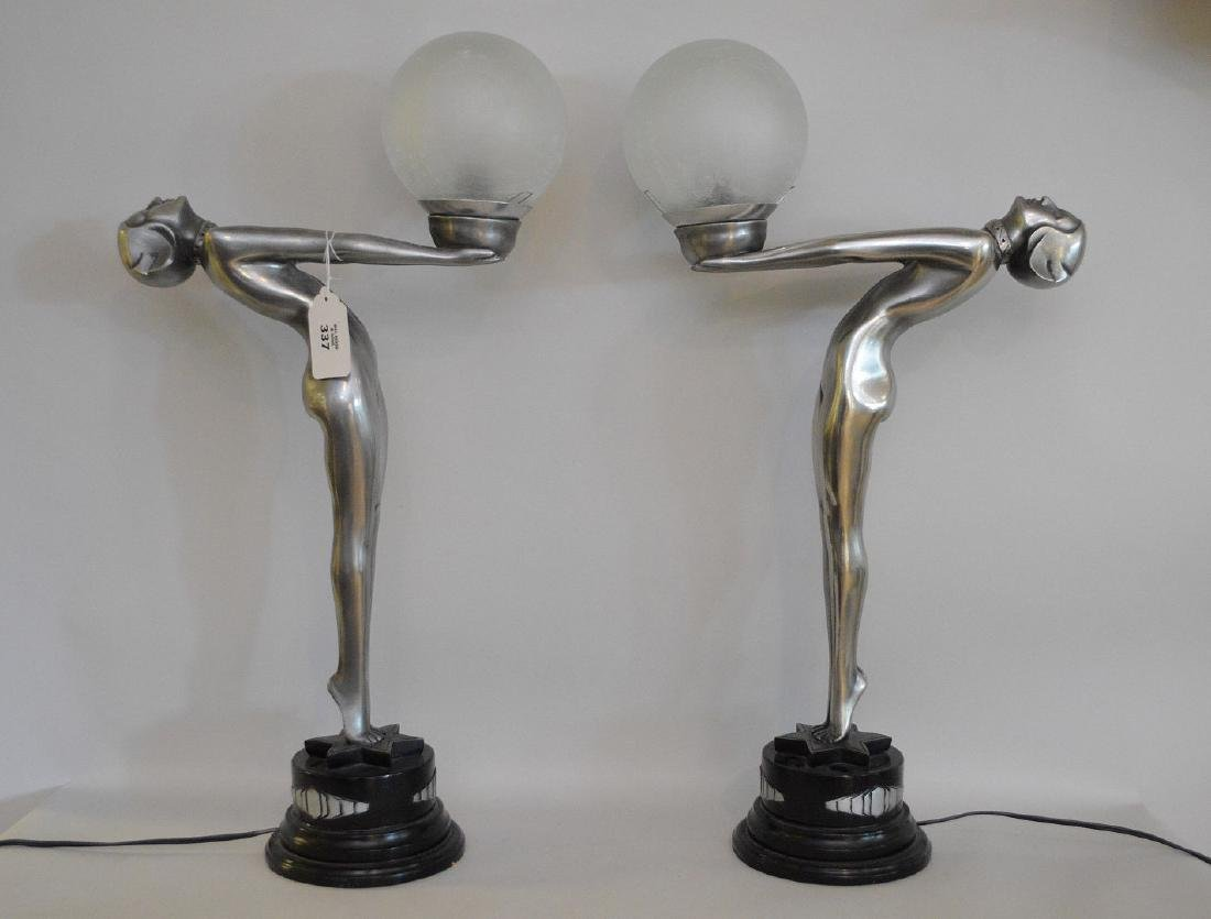 "Pair of Art deco form figural lamps, 22""h x 13""w (not"