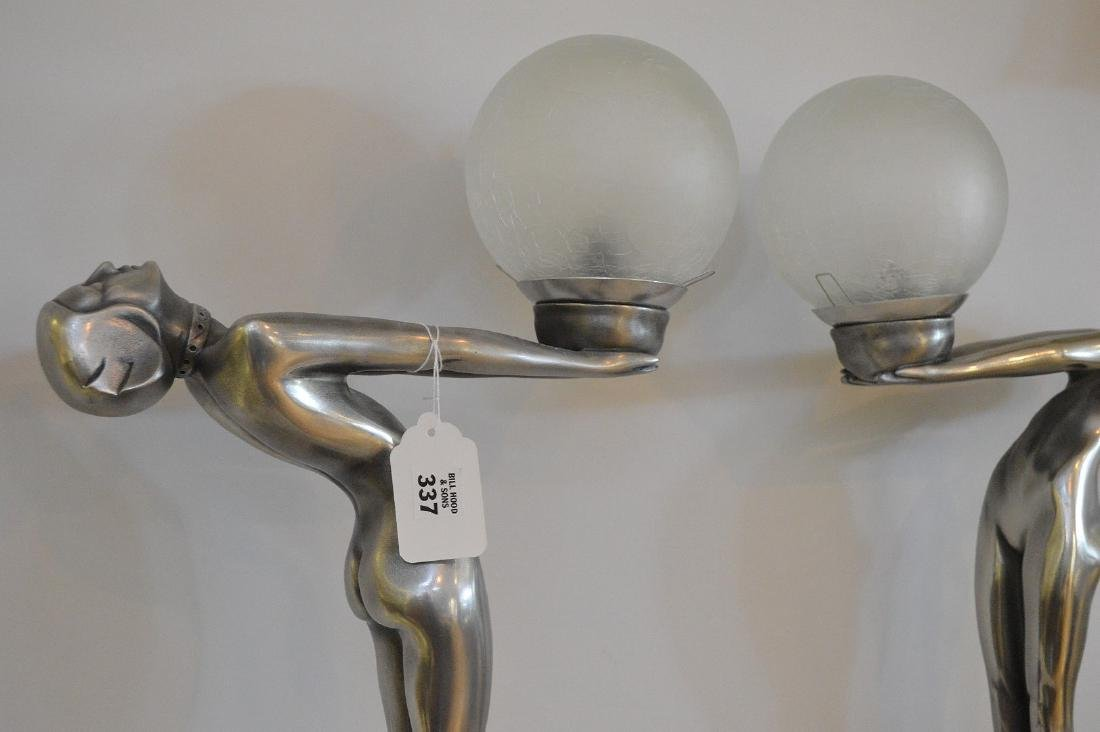 "Pair of Art deco form figural lamps, 22""h x 13""w (not - 5"