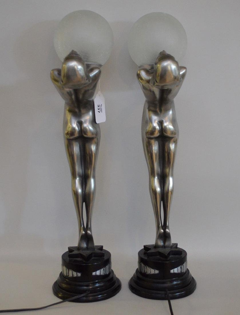 "Pair of Art deco form figural lamps, 22""h x 13""w (not - 6"