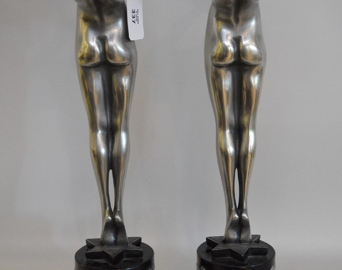 "Pair of Art deco form figural lamps, 22""h x 13""w (not - 7"