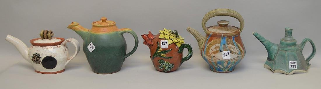 Various teapots, lot of 5 Penland School of the Arts,