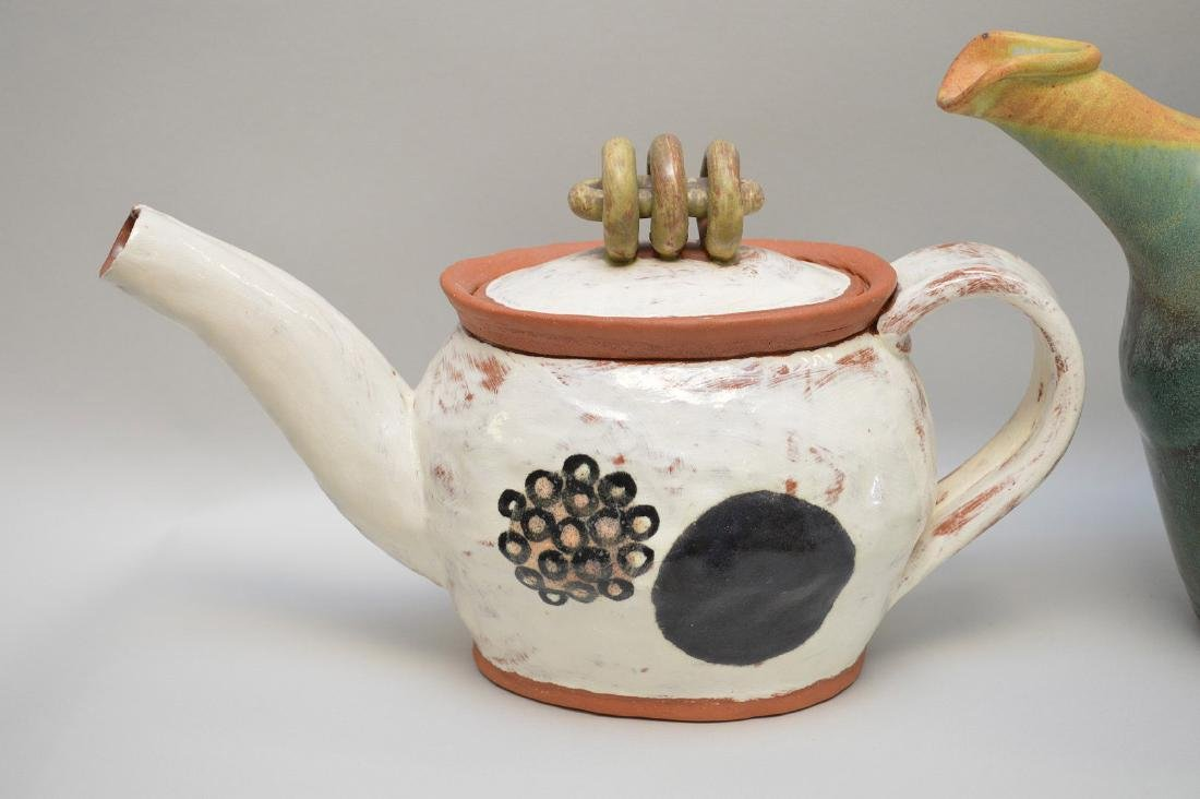 Various teapots, lot of 5 Penland School of the Arts, - 3