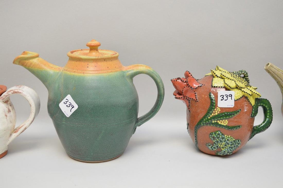 Various teapots, lot of 5 Penland School of the Arts, - 4