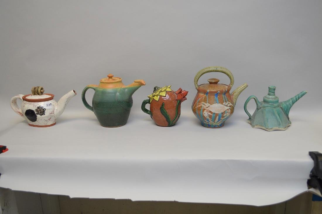 Various teapots, lot of 5 Penland School of the Arts, - 5