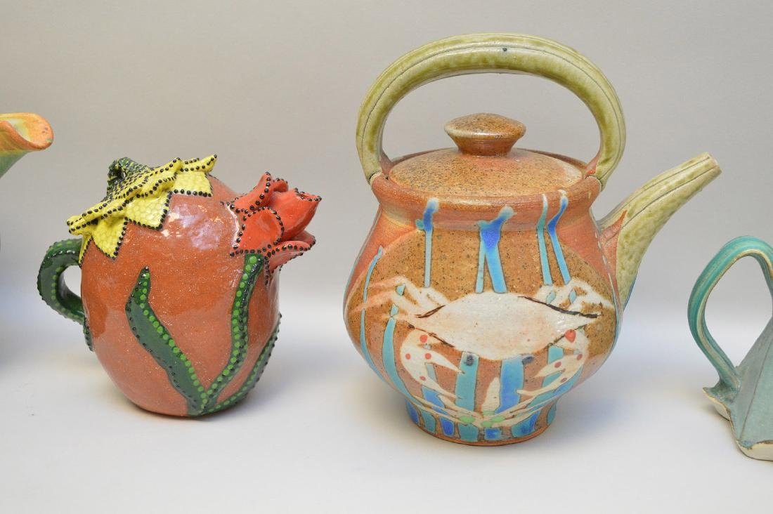 Various teapots, lot of 5 Penland School of the Arts, - 6