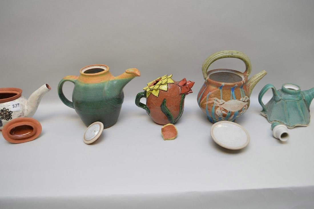 Various teapots, lot of 5 Penland School of the Arts, - 8