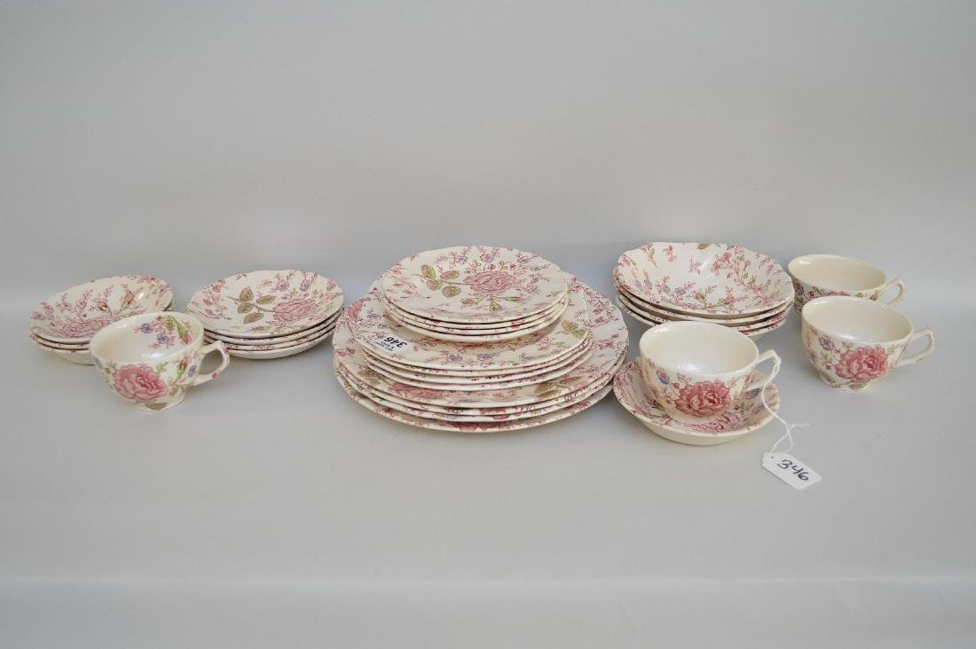 "Johnson Bros. ""Rose Chintz"" service for 4, incl;"