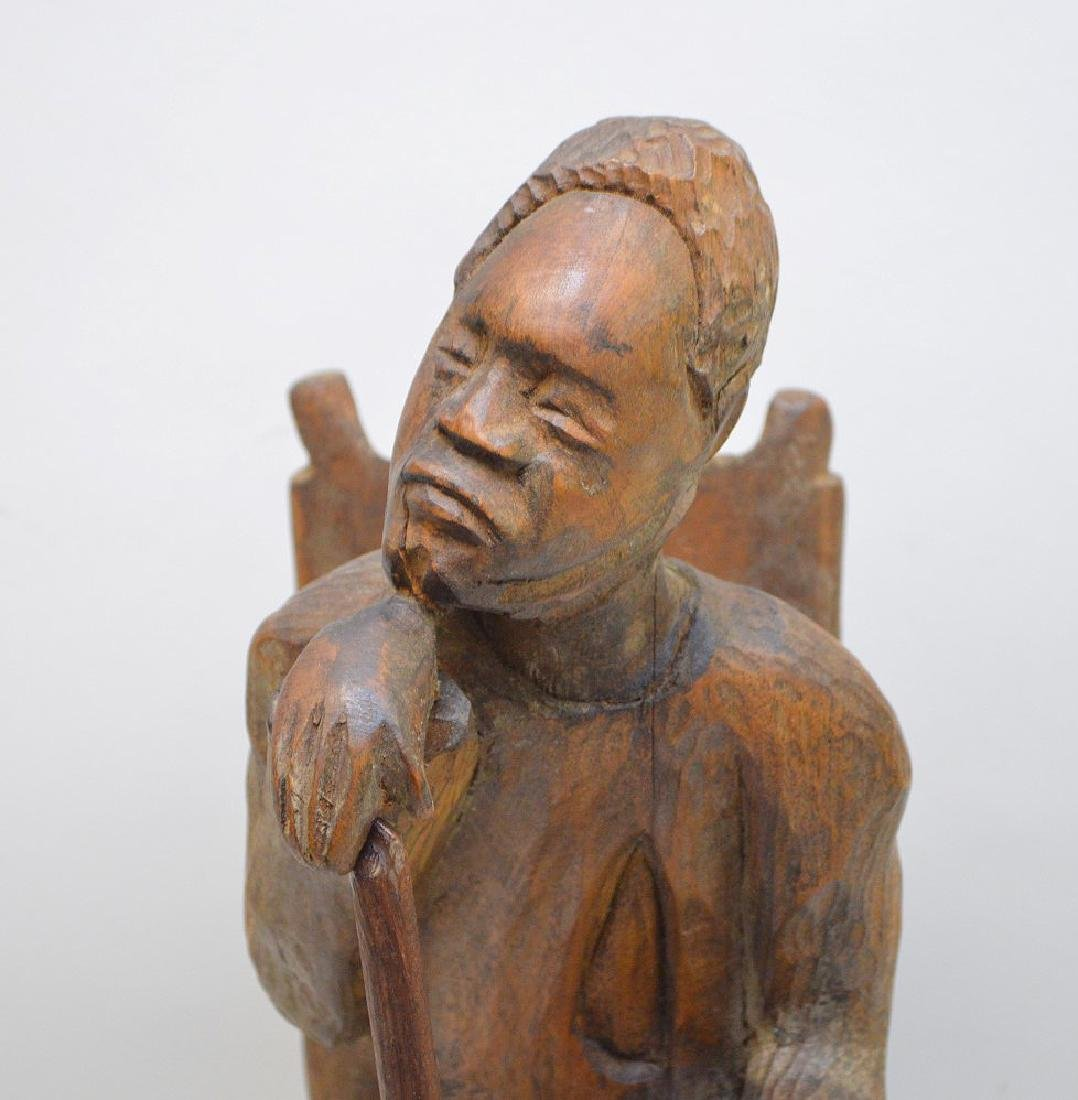 "Carved seated African American, 15""h (cane is glued) - 2"