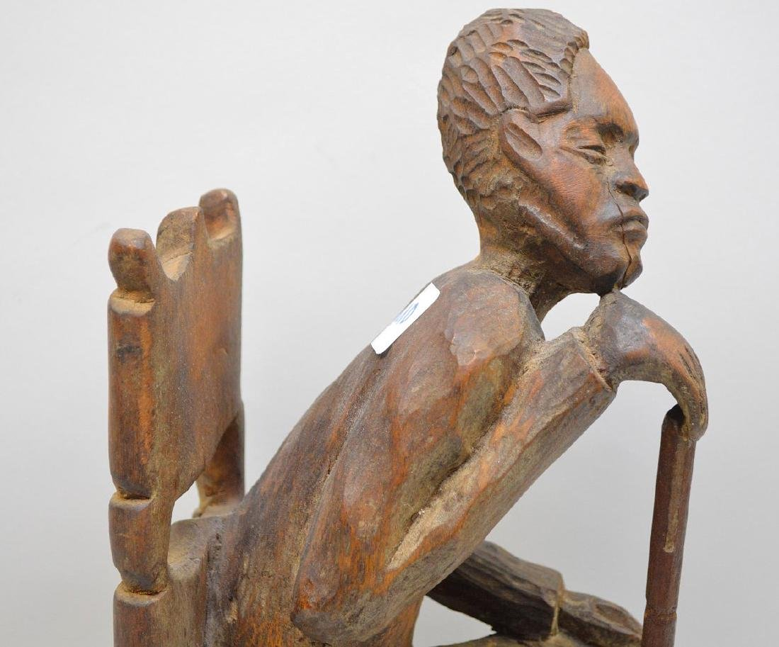 "Carved seated African American, 15""h (cane is glued) - 4"