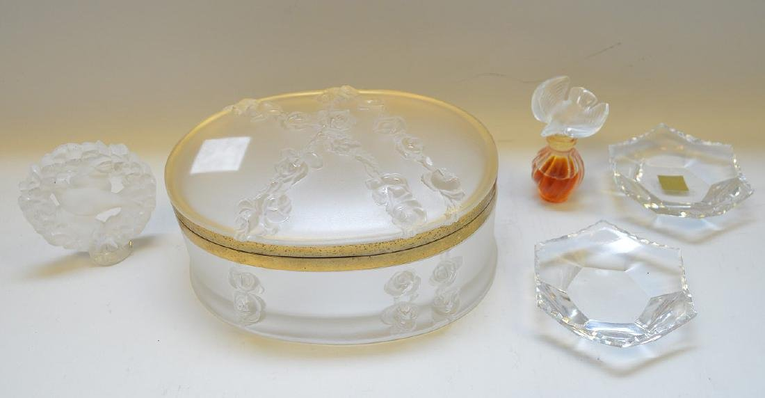 Lalique oval dresser box with miniature perfume bottle,