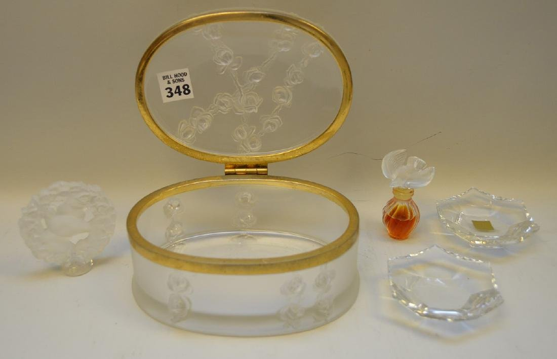 Lalique oval dresser box with miniature perfume bottle, - 2