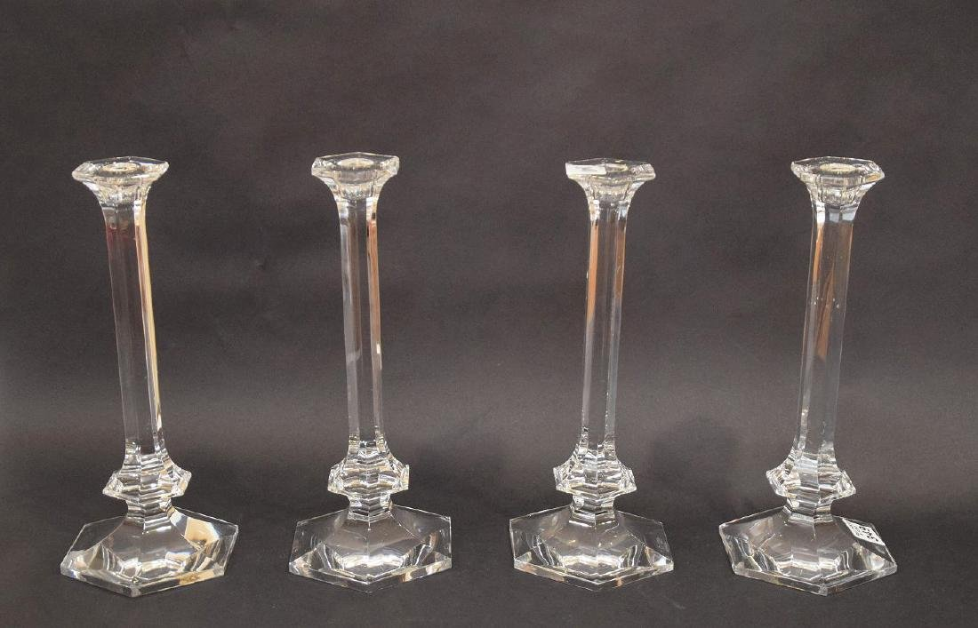 4 Val St. Lambert crystal candlesticks