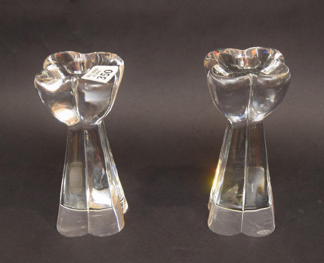 "Pair Baccarat glass candlesticks, 7""h"