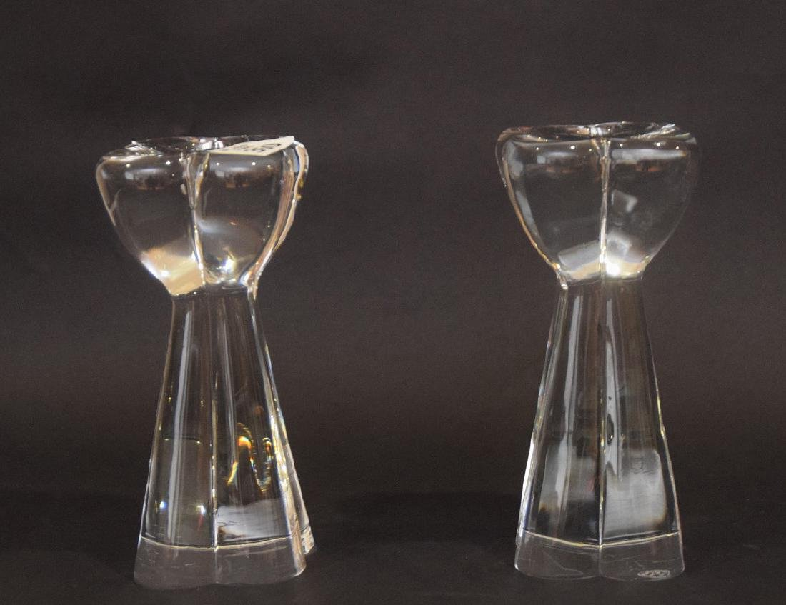 "Pair Baccarat glass candlesticks, 7""h - 2"