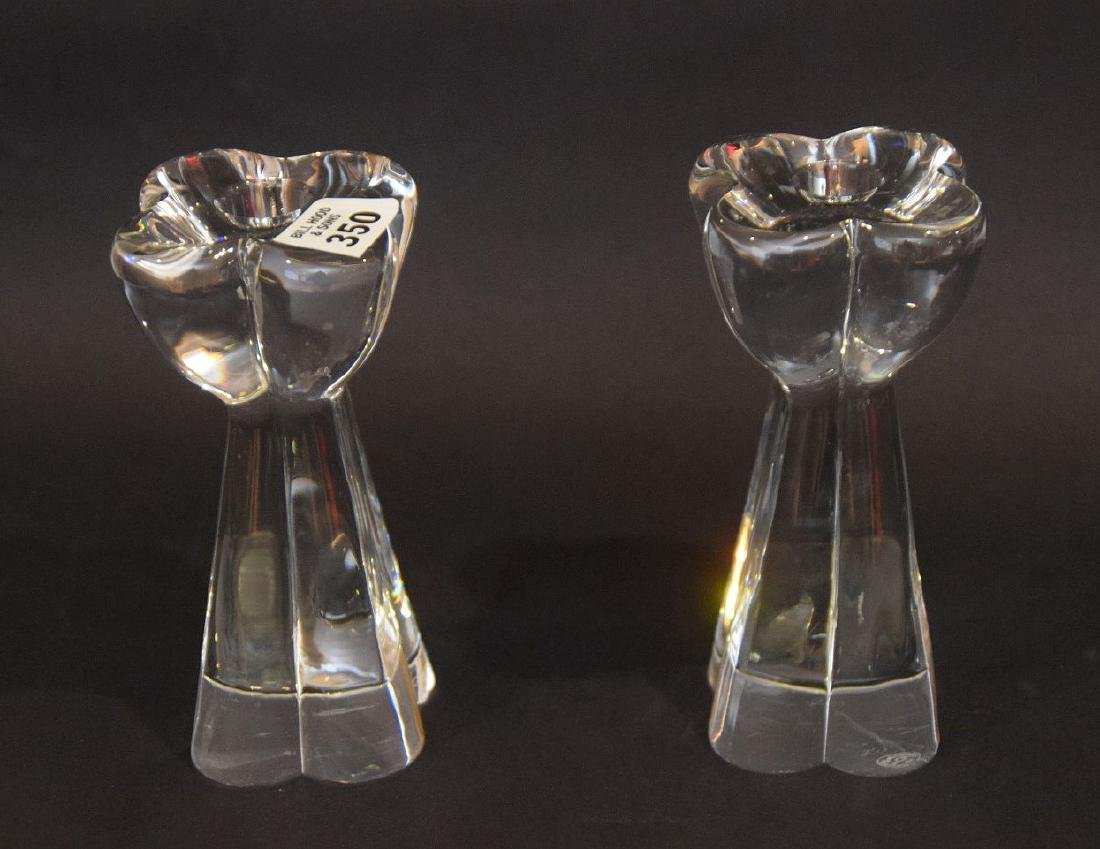 "Pair Baccarat glass candlesticks, 7""h - 3"