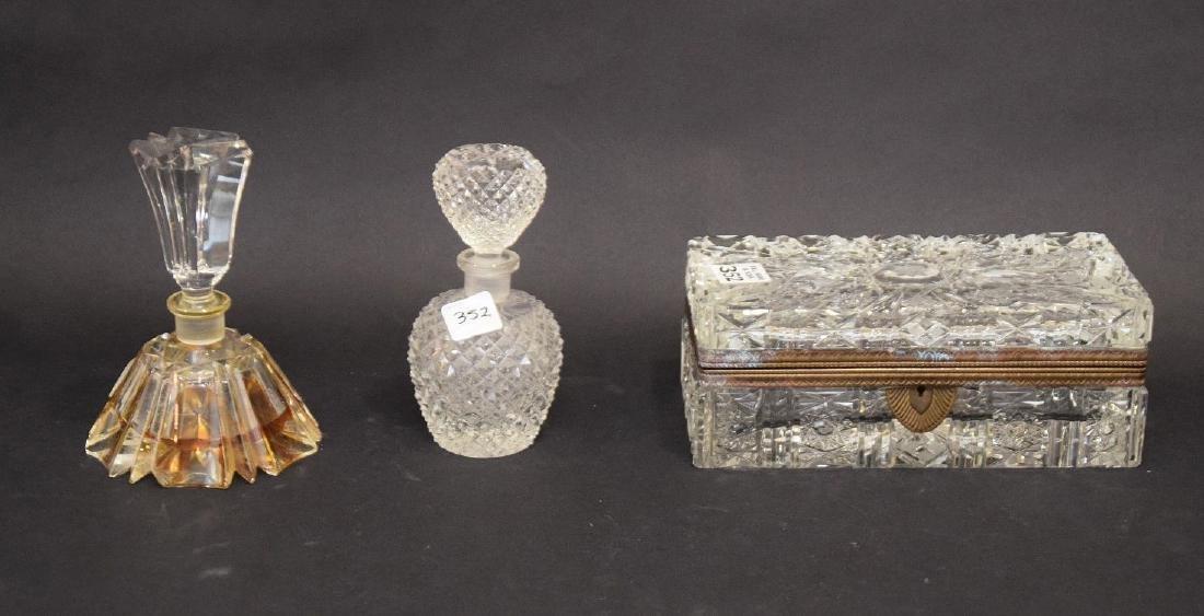 "Cut glass dresser box (3""h x 8 1/2""w x 4""d) AND 2"