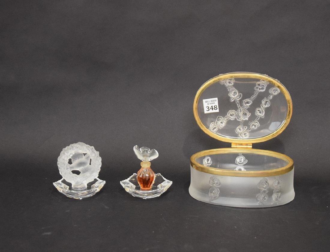 "Cut glass dresser box (3""h x 8 1/2""w x 4""d) AND 2 - 8"